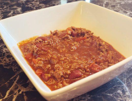 Chili In White Square Bowl