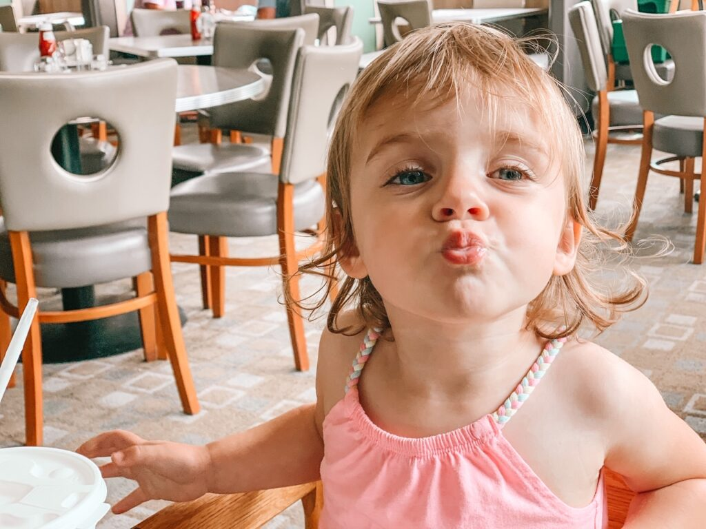 little girl at hilton head diner